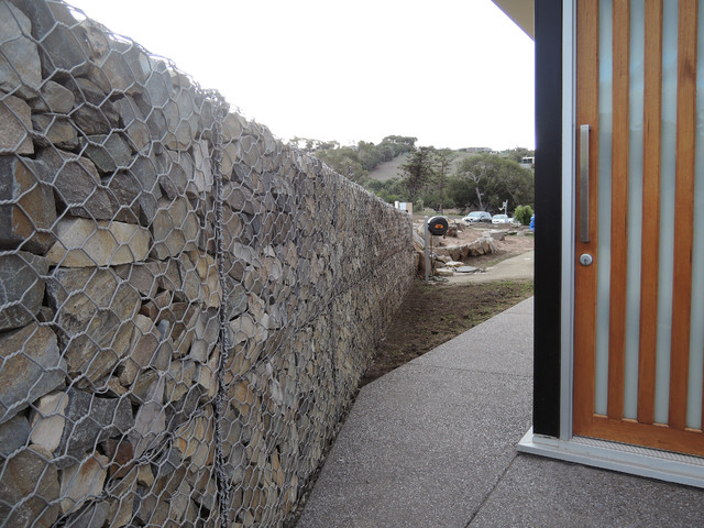 Twin figs gabion retaining wall for Landscape contractors adelaide