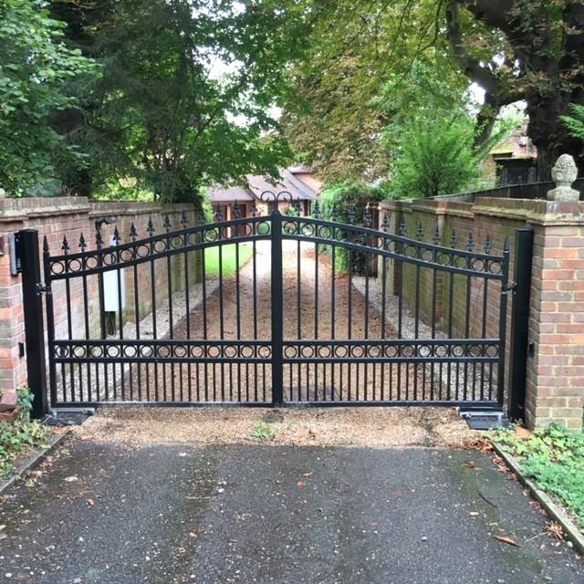 Wrought iron driveway gates contemporary garden