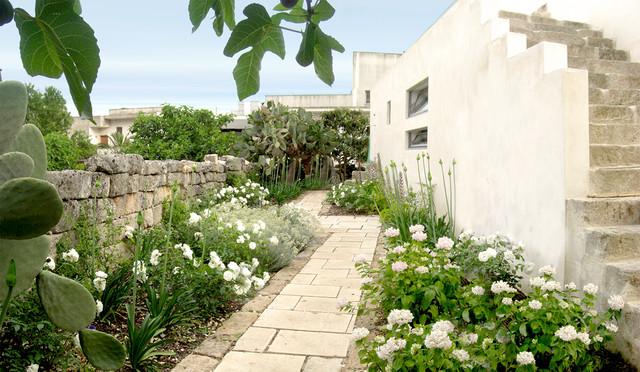 Esempio di un giardino mediterraneo esposto in pieno sole con un ingresso o sentiero e pavimentazioni in pietra naturale