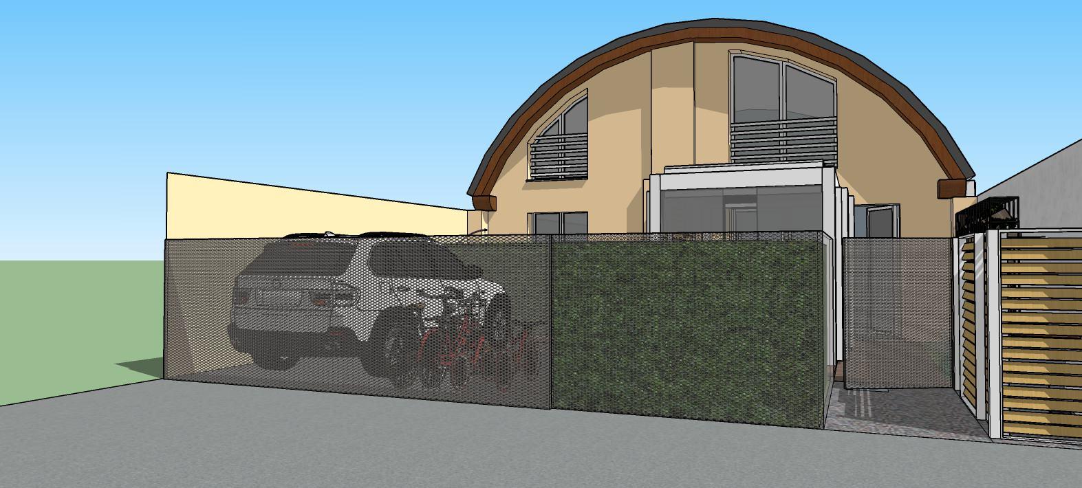 Vista dalla strada dell'abitazione e degli spazi esterni in progetto.
