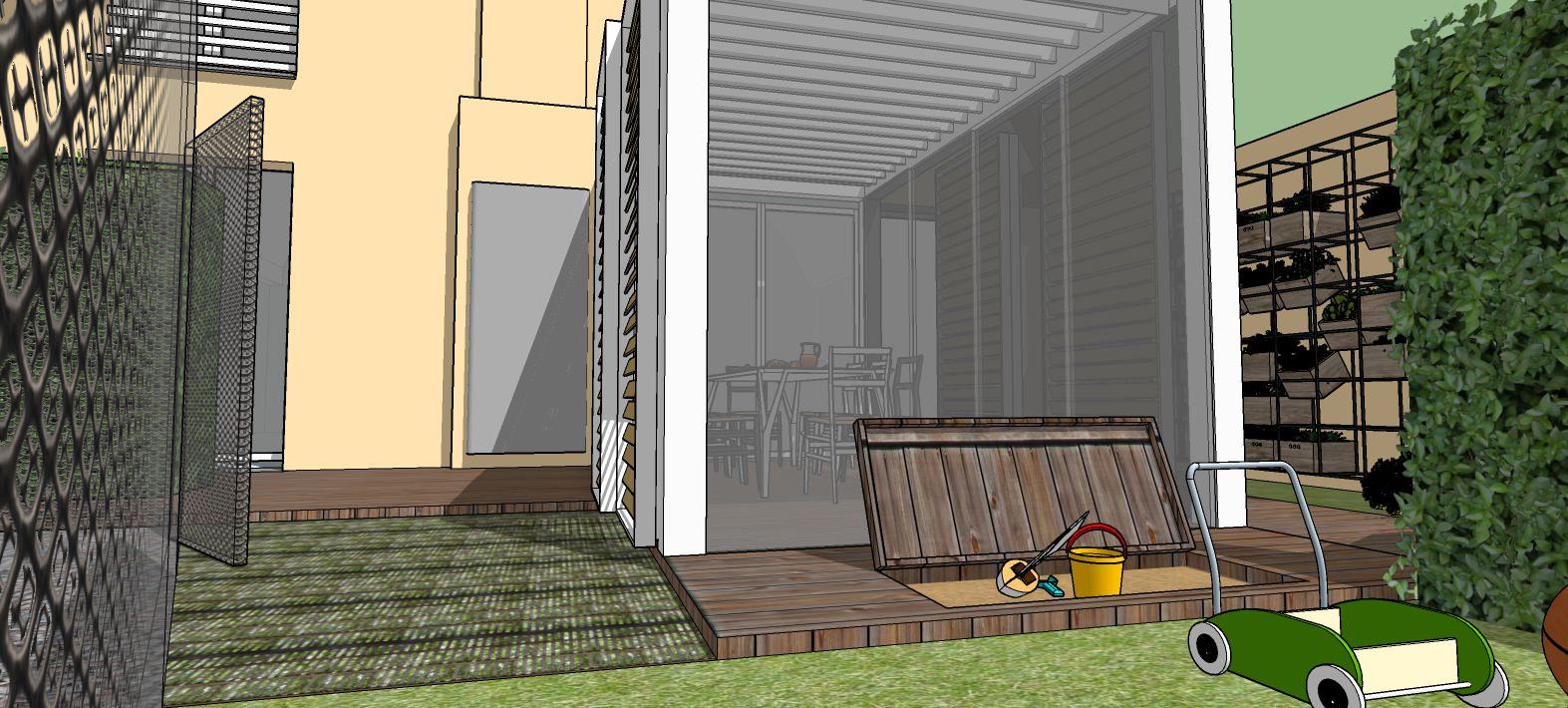 Vista esterna della nuova pergola bioclimatica in progetto.