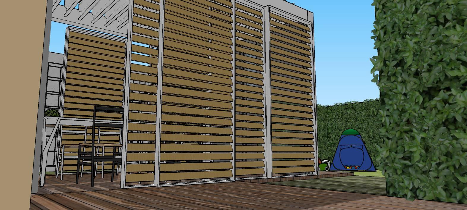Vista generale dell'abitazione e degli spazi esterni in progetto.