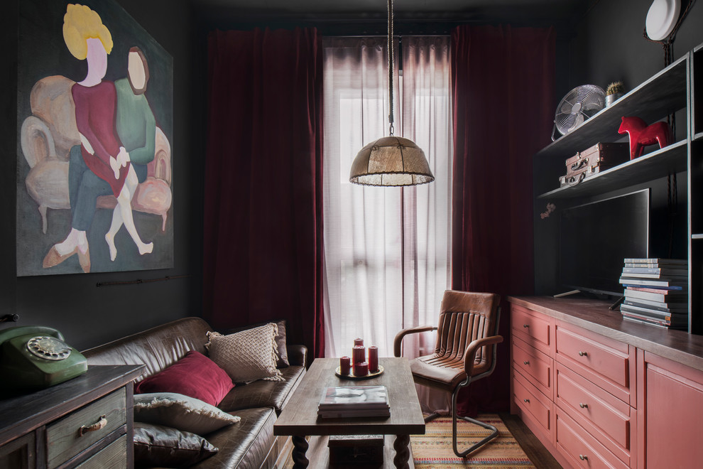 Living room - mid-sized industrial open concept laminate floor living room idea in Moscow with black walls