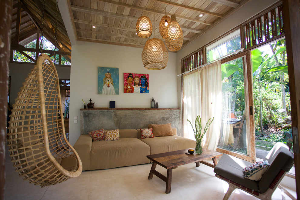 Inspiration for a zen open concept living room remodel in Other with white walls
