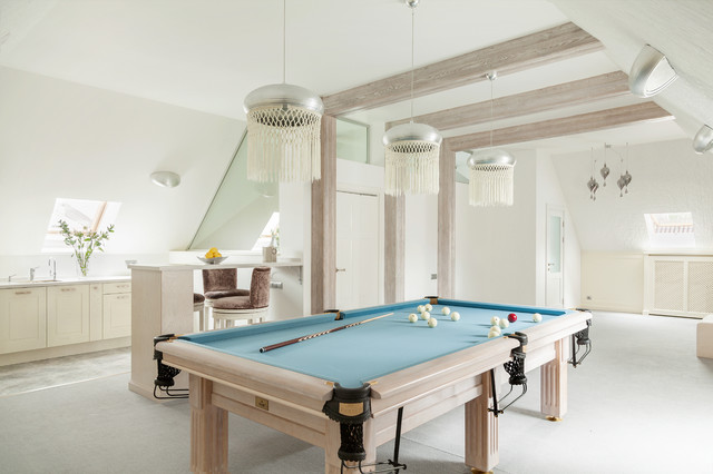 Inspiration for a contemporary carpeted game room remodel in Moscow with white walls