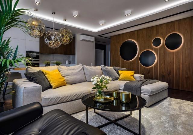 Интерьер трехкомнатной квартиры в Новосибирске, площадь 100м2 contemporaneo-soggiorno