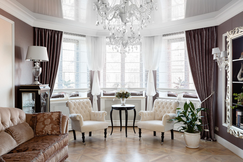 Example of a classic formal medium tone wood floor living room design in Other with brown walls and no fireplace
