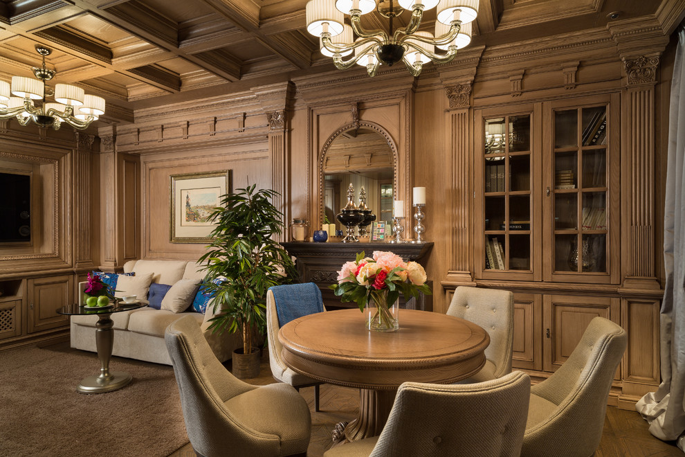 Elegant formal medium tone wood floor living room photo in Moscow with brown walls, a standard fireplace and a wall-mounted tv