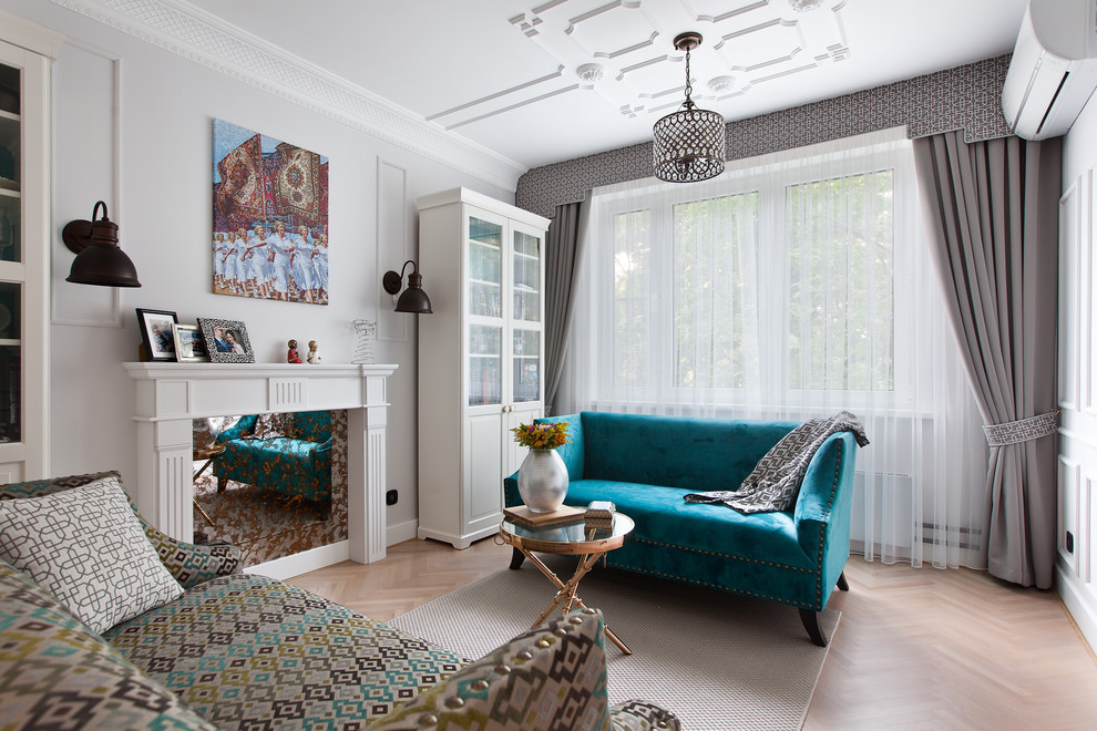 Example of a transitional enclosed and formal beige floor and light wood floor living room design in Moscow with white walls