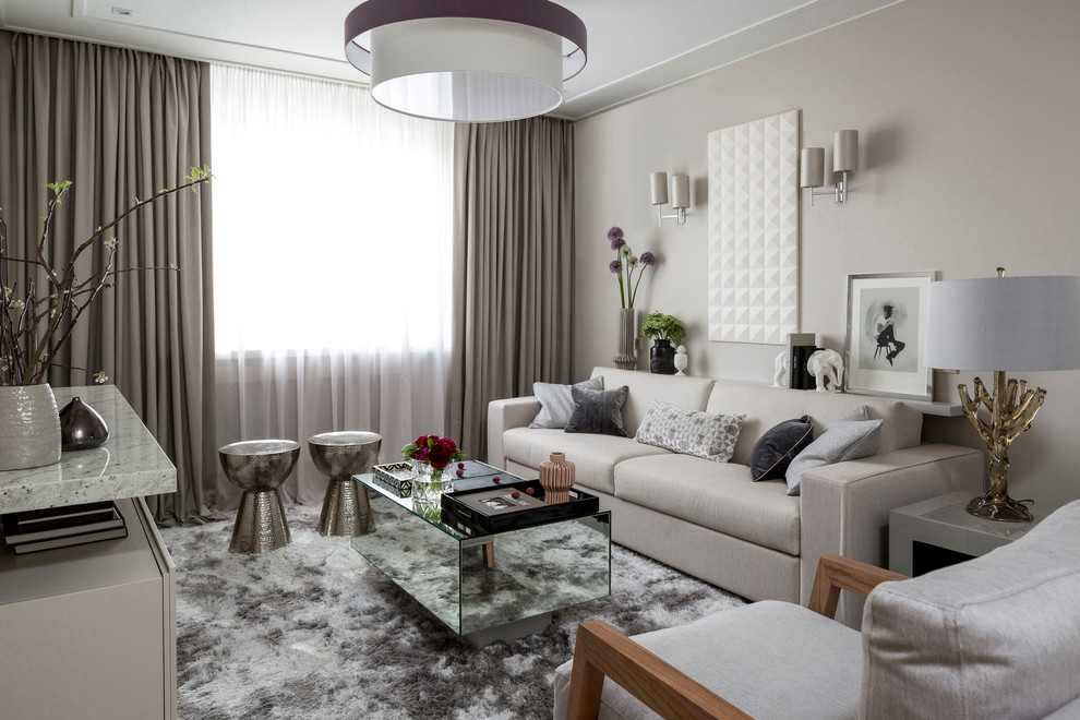 Example of a danish living room design in Moscow with gray walls