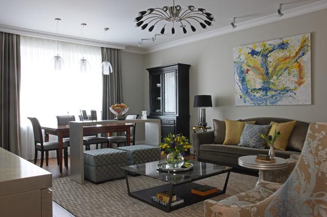 Immagine di un soggiorno minimal con pareti beige e sala formale