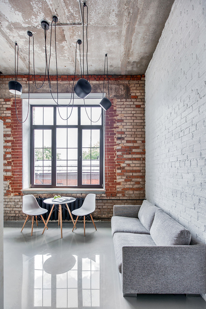 Inspiration for an industrial formal and open concept living room remodel in Moscow with multicolored walls and a tv stand