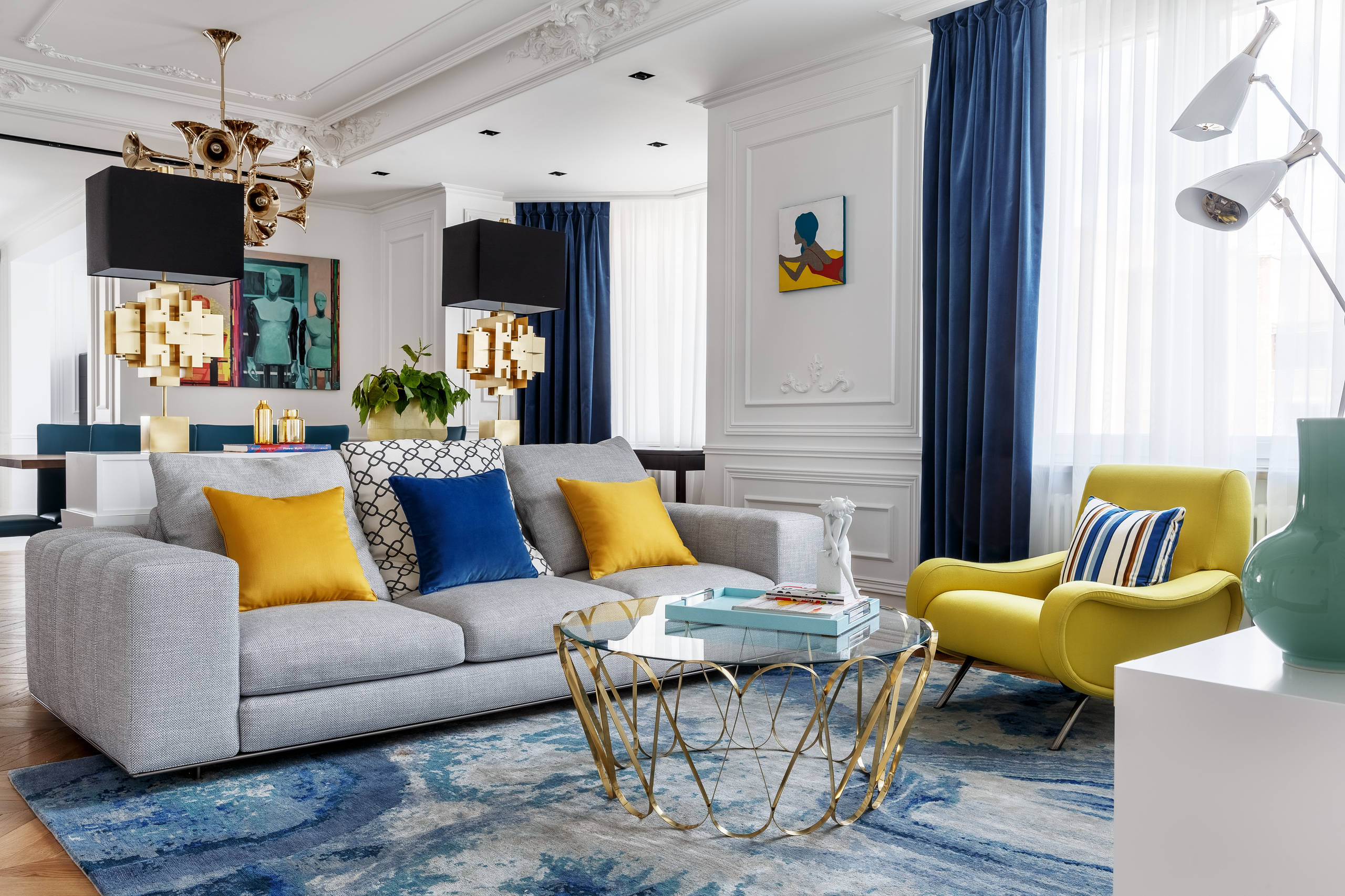 Blue And Yellow Living Room Ideas Photos Houzz