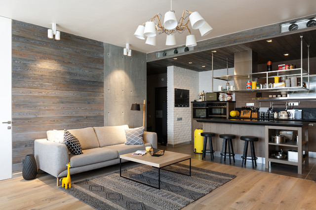 Living room - industrial living room idea in Moscow