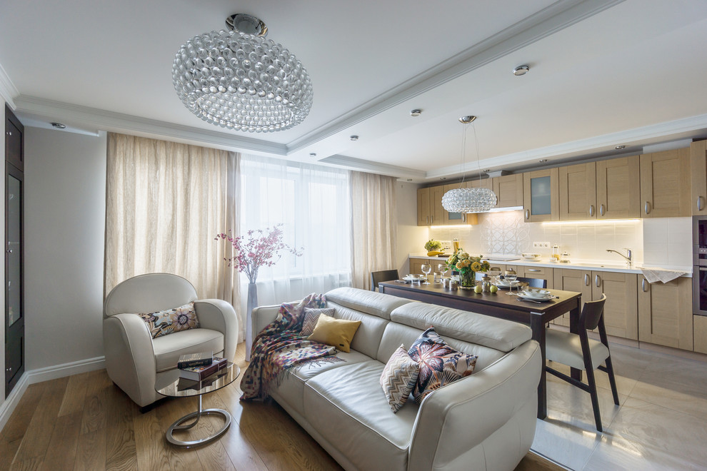 Mid-sized trendy formal and open concept light wood floor living room photo in Moscow with white walls