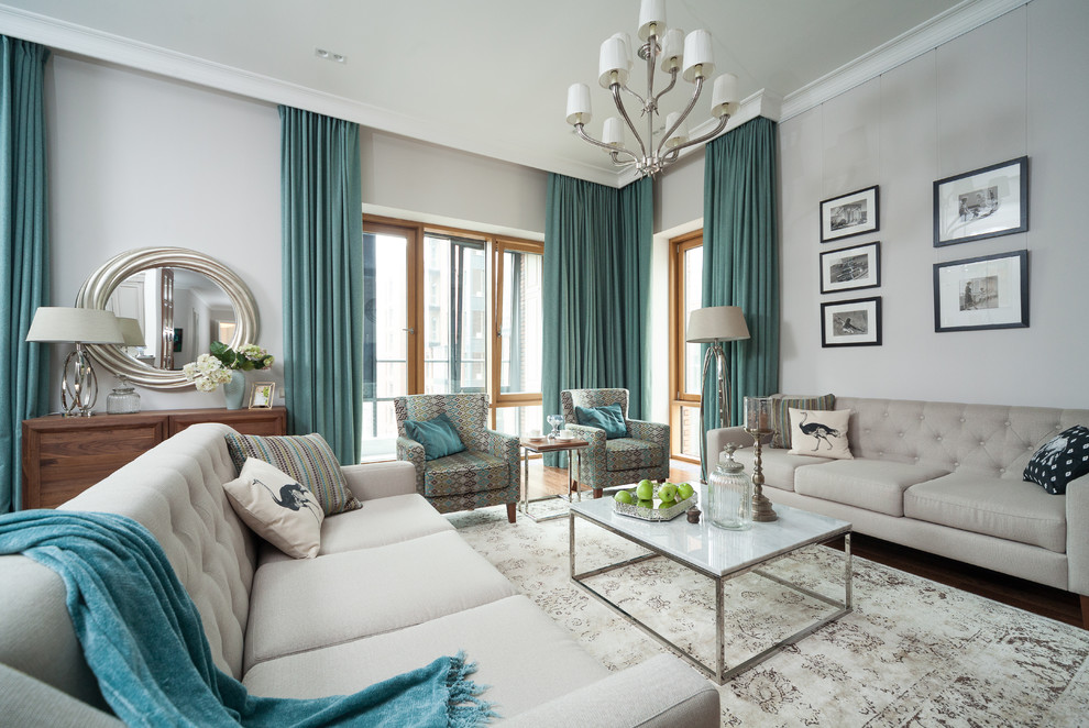 Living room - large traditional formal carpeted living room idea in Moscow with gray walls