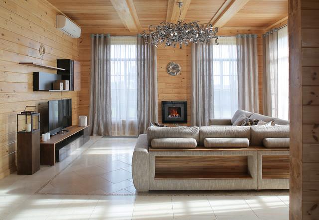 Современный интерьер деревянного дома из бруса внутри фото