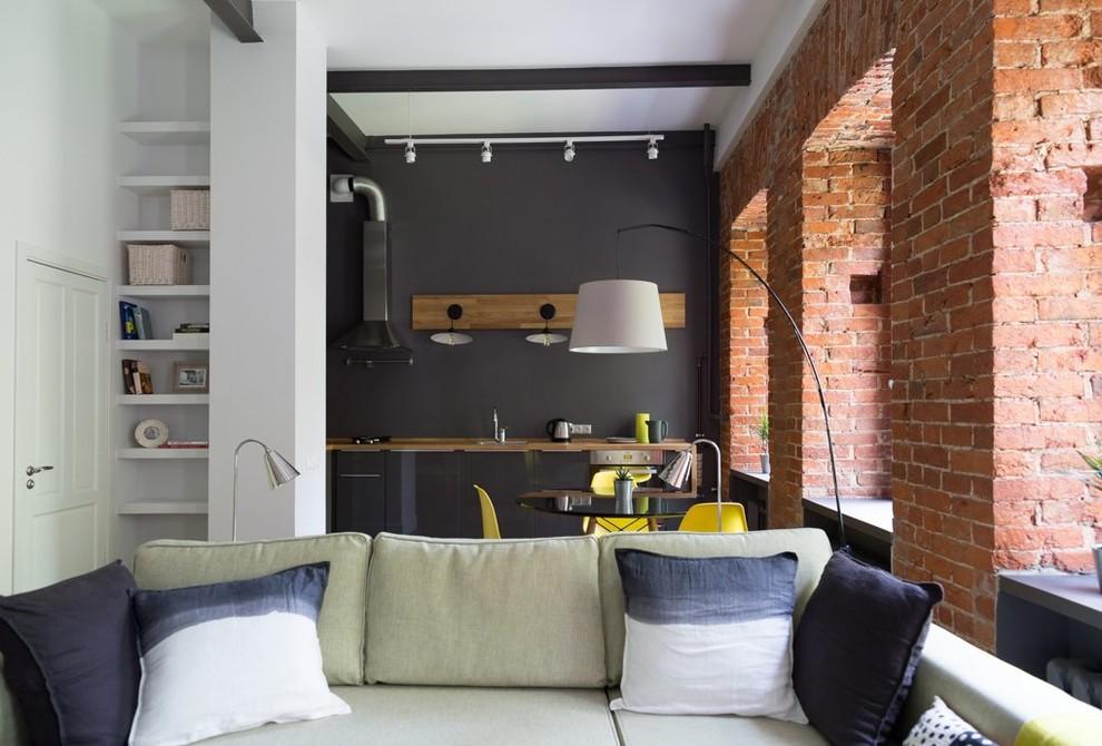 Пример оригинального дизайна: большая гостиная комната в стиле лофт с серыми стенами без камина, ТВ
