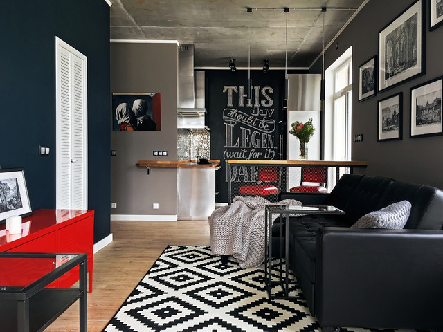 Mid-sized trendy open concept laminate floor and brown floor living room photo in Moscow with gray walls