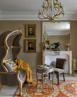 Salon avec un mur marron : Photos et idées déco de salons