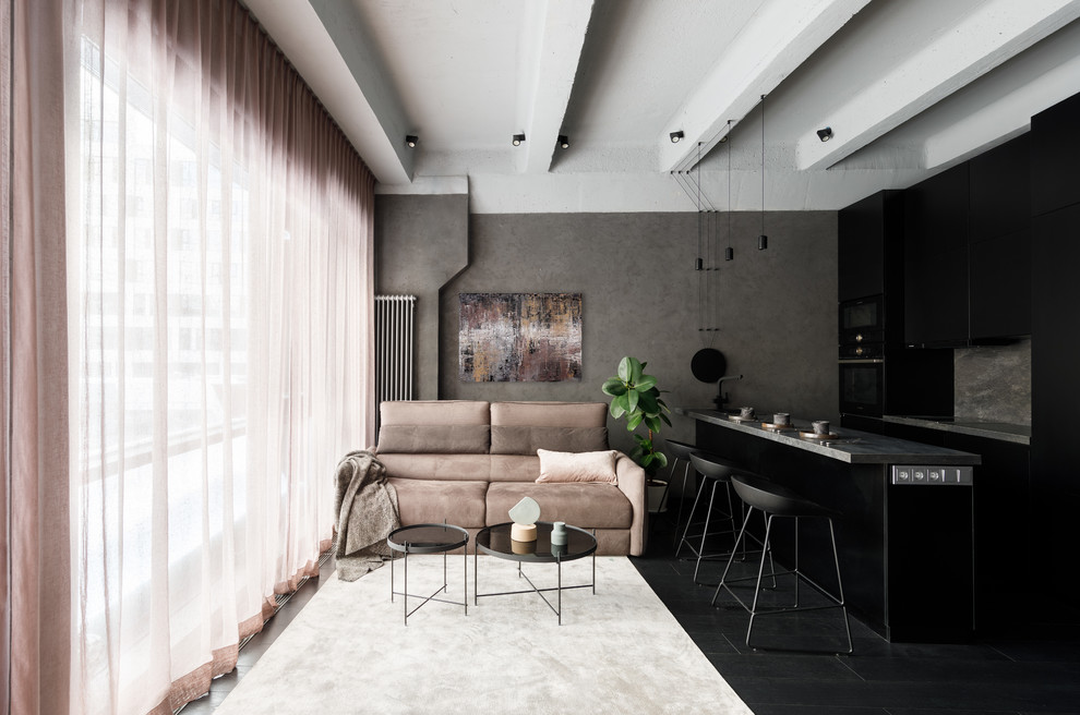 Trendy open concept painted wood floor and black floor living room photo in Moscow with gray walls