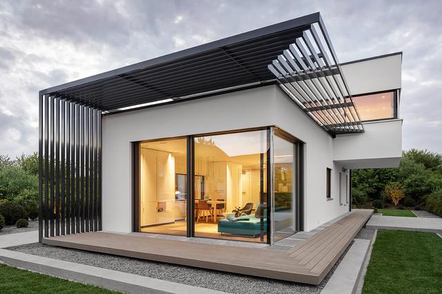Luxhaus musterhaus poing m nchen modern haus fassade for Musterhaus modern