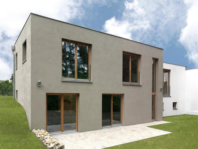 Modern haus fassade for Modernes haus mit holzfenster