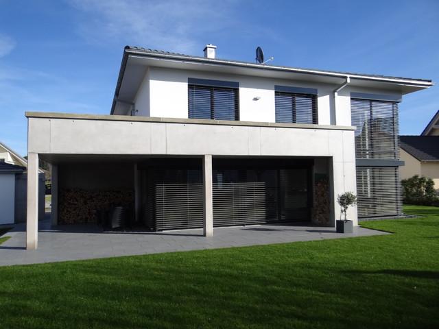 neubau eines einfamilienhauses mit doppelgarage sowie au enanlage. Black Bedroom Furniture Sets. Home Design Ideas