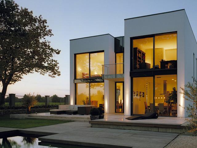 Neubau eines wohnhauses in m nster glasfront for Modernes haus glasfront