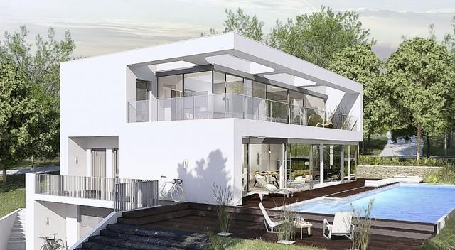 villa im bauhausstil minimalistisch h user stuttgart von okal haus gmbh. Black Bedroom Furniture Sets. Home Design Ideas