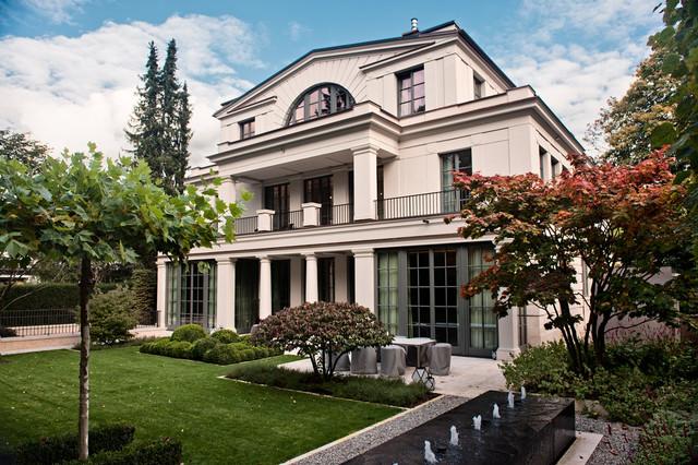 villen im neoklassischen stil klassisch haus fassade m nchen von dipl ing helmut. Black Bedroom Furniture Sets. Home Design Ideas