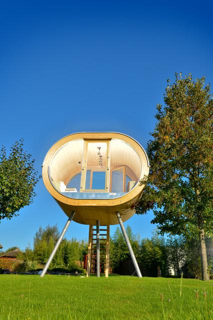 Aussensauna Modern wellnessgarten mit schwimmteich und außensauna