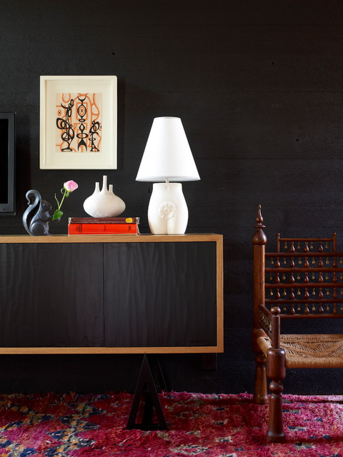 Inspiration For A Contemporary Hallway Remodel In New York With Black Walls