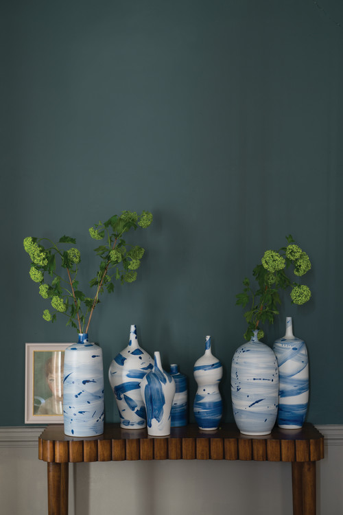 A hall painted in Inchyra Blue No.289 by Farrow & Ball
