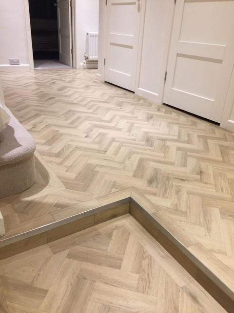 Amtico signature luxury vinyl tiles modern hallway for Removing amtico flooring