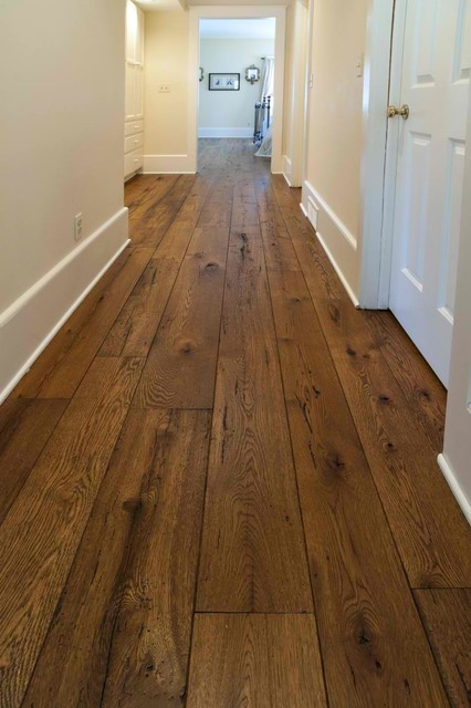 Antique resawn oak hardwood flooring traditional hall Reclaimed wood flooring portland