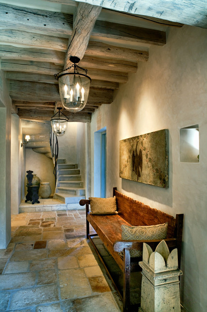 antique stone staircase traditional-hall