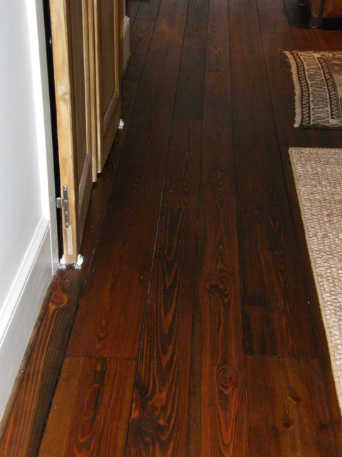 Antique Wide Plank Heartpine Flooring Traditional Hall