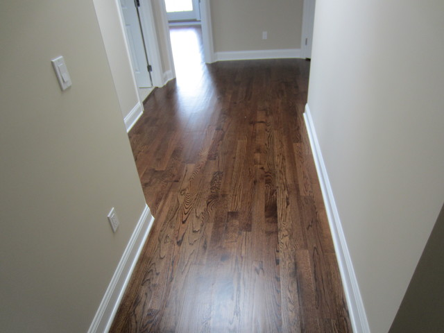 """Aquebogue new construction - 3 1/4"""" Red Oak installed / stained Special Walnut - Traditional ..."""