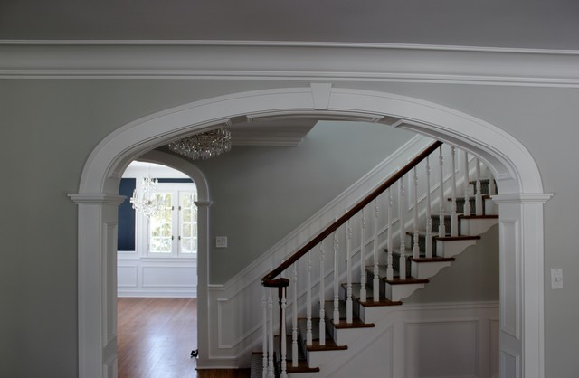 Arched Foyer Window Treatment : Arched opening to foyer stair
