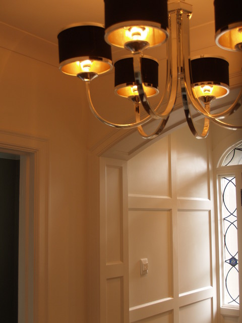 Arched paneled passage way custom built in cabinetry for Bathroom remodel 80123