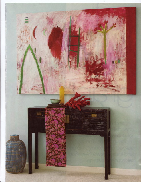 Art in the Hallway over small hall console table hall