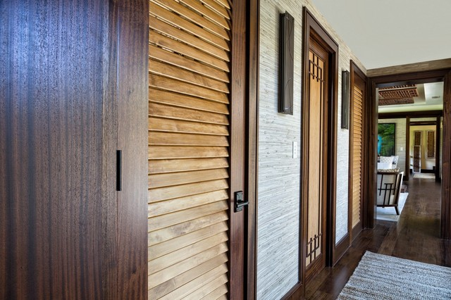 Asian Inspired Retreat In Palm Beach Solid Wood Louver Doors Hall Denver