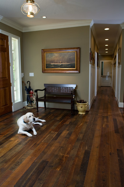authentic distressed heart pine flooring traditional hall - Distressed Pine Flooring