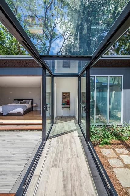 garage shop lighting ideas - Balmain Residence Glass Walkway Modern Hall sydney