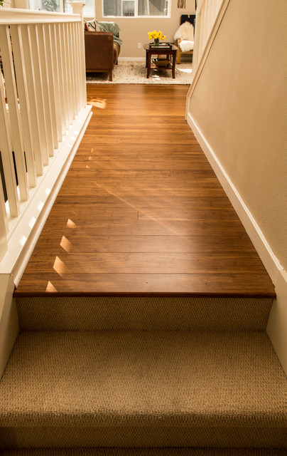 Bamboo flooring carpeted stairs san jose ca hallway for Woven carpet for stairs