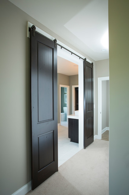 Barn doors entrance to master bathroom by schumacher for Master bathroom entrance