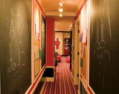 Basement Hallway with Chalk Walls eclectic hall