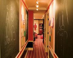Basement Hallway with Chalk Walls eclectic-hall