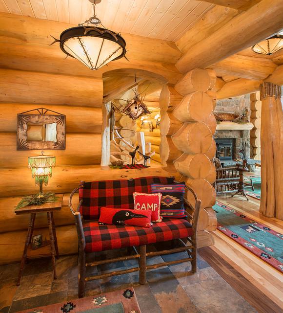 Big Moose New York Log Home Rustic Hall New York